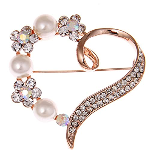 31111b874 Image Unavailable. Image not available for. Color: Love Heart Brooch Pin  Style Delicate Simulate Pearl ...