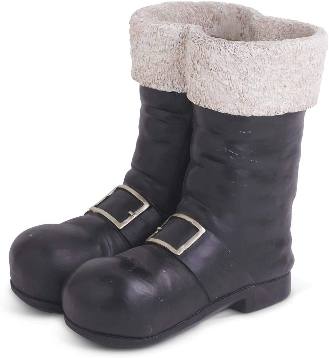 K&K Interiors 53777A 10 Inch Black and White Resin Santa Boots Container