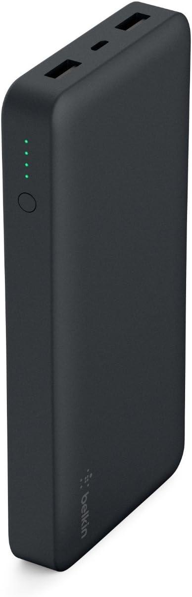 TALLA 15000 mAh. Belkin batería externa Pocket Power 15K, power bank, iPhone12, 12Pro, 12Pro Max, 12 mini, 11, 11 Pro, Pro Max, X, XS, XS Max, 8, 8+, iPad y Samsung Galaxy S10, S10+ y S10e, negro