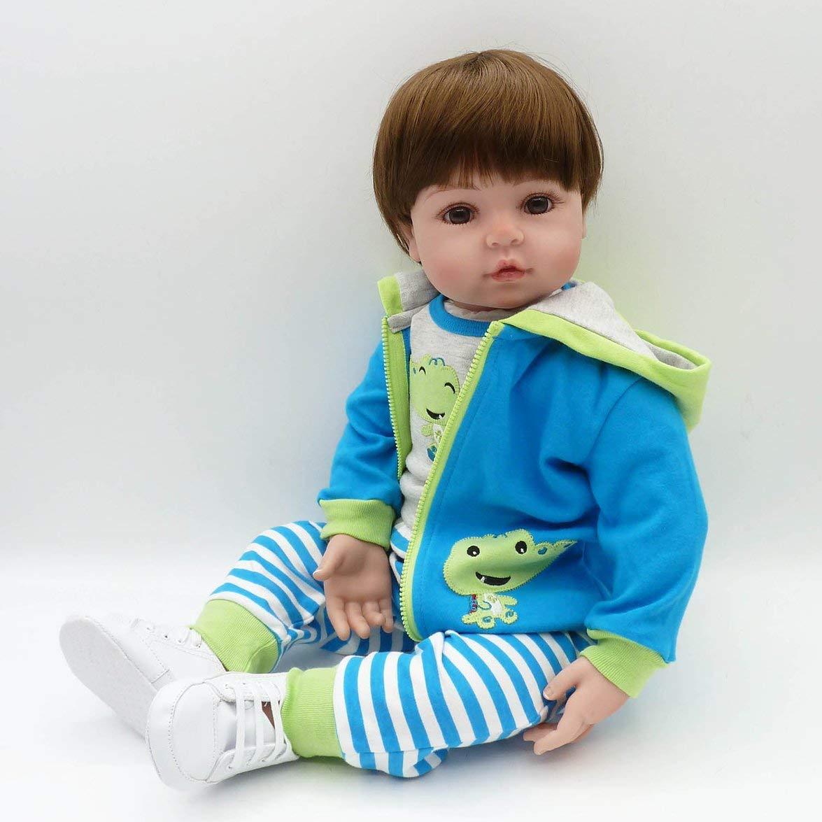 Kongqiabona 58 cm Ganzkörper Weiche Silikon Silikon Silikon Vinyl Baby Puppe Puppe Spielzeug Babe Reborn Baby Puppe Playmate Geschenk ungiftig Sichere Handgemachte Baby Puppe 408326