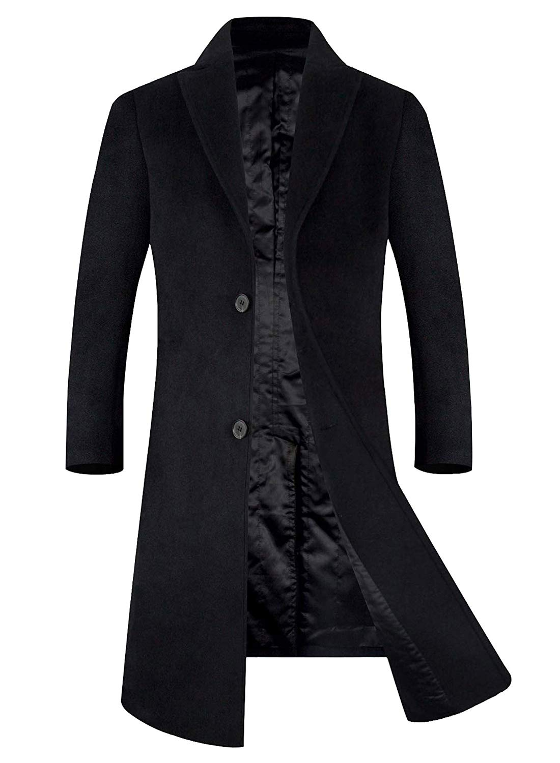 APTRO Men's Wool Blend Trench Coat Knee Length Fleece Lining Top Coat 1817 Black M by APTRO