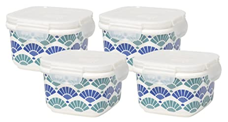 Now Designs Snack N Serve 4.5 Inch Porcelain Container With Lid, Set Of  Four,