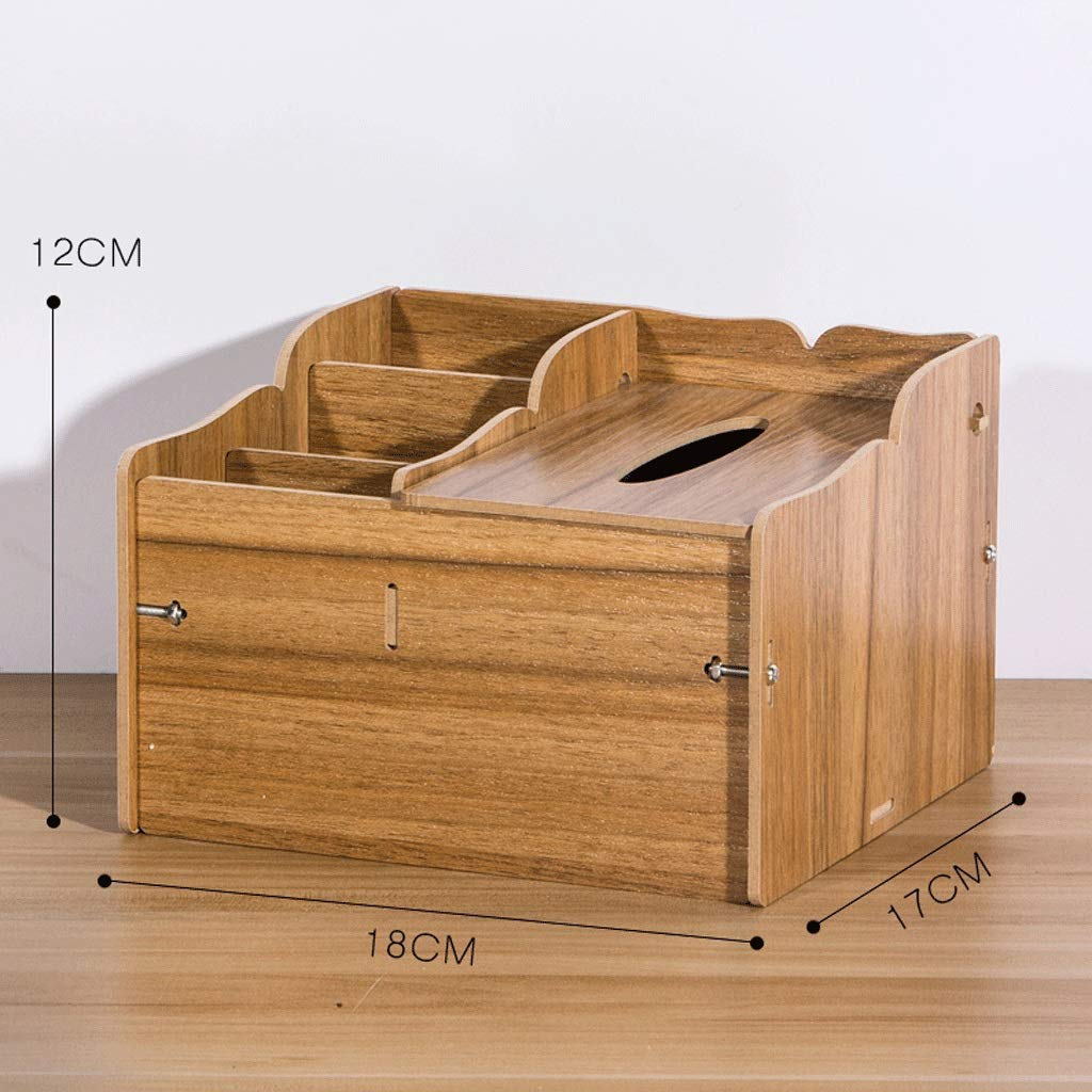 ZYN Desktop Function Tissue Box- Household Mobile Phone Remote Control Storage Box Living Room Coffee Table Tray Wood (Color : C)