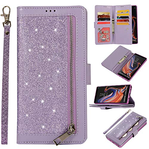 (Shinyzone Glitter PU Case for Samsung Galaxy Note 9,Wallet Leather Flip Case with Zipper Pocket,Bling Cover with 9 Card Holder and Wrist Strap Magnetic Stand Function,Purple)