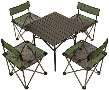 LGFB Juego de Mesa y Silla Plegable para Acampar al Aire Libre 1 Mesa 4 sillas Jardín Patio balcón Playa Mesa de Picnic Mesa Muebles de Aluminio 52x52x52cm Verde: Amazon.es: Deportes y