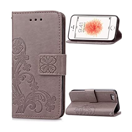 free shipping 1394a ef7b0 iPhone 5s Case, iPhone 5 Wallet Case For Women, [Wrist Strap] Flip Folio  [Kickstand Feature] Embossed Premium Leather Cover With Card Holder For  Apple ...