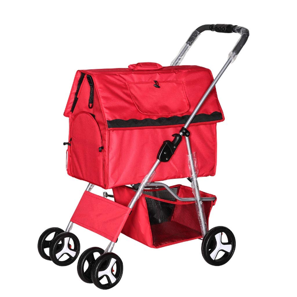 Red Pet Stroller with Wheel Folding Separate Dog and Cat Universal Pet Nest Outdoor Travel Car, with Storage Basket4 colors (color   RED)
