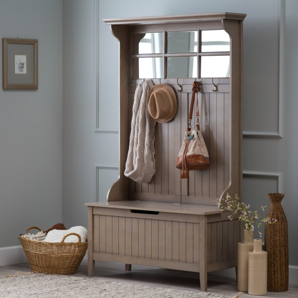 Delicieux Amazon.com: Belham Living Richland Hall Tree With Storage Bench   Driftwood  Gray: Kitchen U0026 Dining