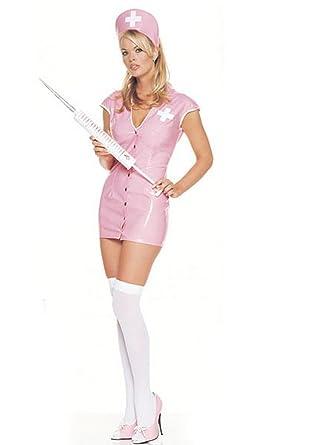 Amazon.com: Rosa vinilo Enfermera Sexy disfraz, M: Clothing