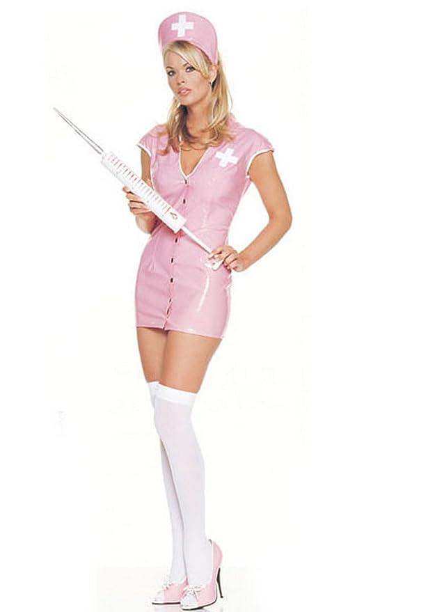 Amazon.com: Rosa vinilo Enfermera Sexy disfraz, S: Clothing