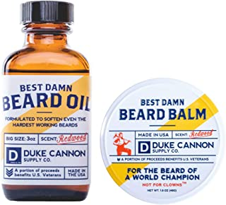 product image for Duke Cannon Supply Co. - Redwood Scented Beard Bundle Set (2 Pack) Redwood Scented Beard Oil and Beard Balm - Sandalwood & Amber