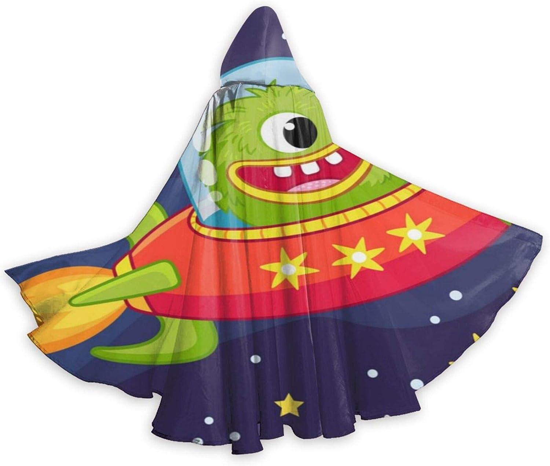 TYHG - Capa unisex para adultos, con capucha, para Halloween, juego de roles, 3D, monstruo extranjero, volando en la nave espacial, disfraz de fiesta de Navidad para mujeres y hombres