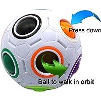 FC MXBB 2.5 inches Fidget Ball Intelligence Rainbow Magic Ball Cube 3D Puzzle Football Design Fidget Toy