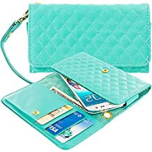 Case+Stand Women Luxury Purse/Pouch/Clutch/Wallet Fits Apple Samsung Motorola LG ZTE HTC etc. Universal PU Leather Quilted Handle Wristlet Strap - Mint Green Teal Medium Fits the Following Models:
