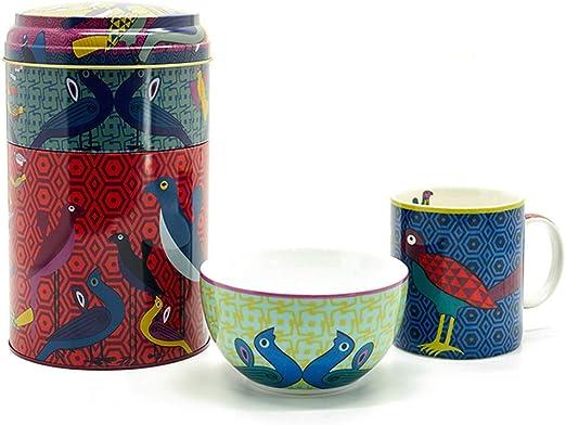 Images DOrient Set de Regalo Caja de Metal con Taza de café (250 ml) y Bol para Cereales (12cm) de Porcelana Fina China con Motivos orientales Birds of Paradise: Amazon.es: Hogar