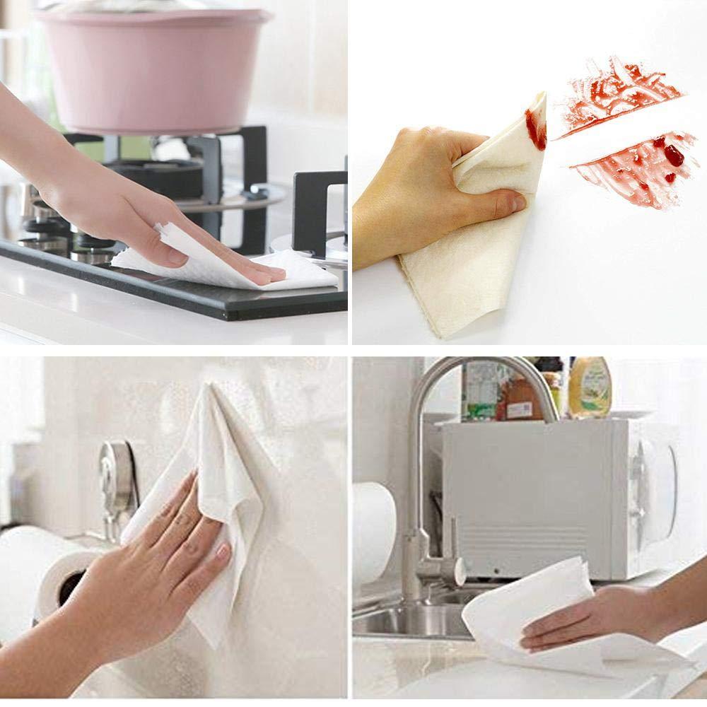 trapo para platos de cocina Volwco toallas de bamb/ú reutilizables s/úper absorci/ón de agua limpia blanco blanco, cada rollo 25 piezas trapo para cocina antiadherente