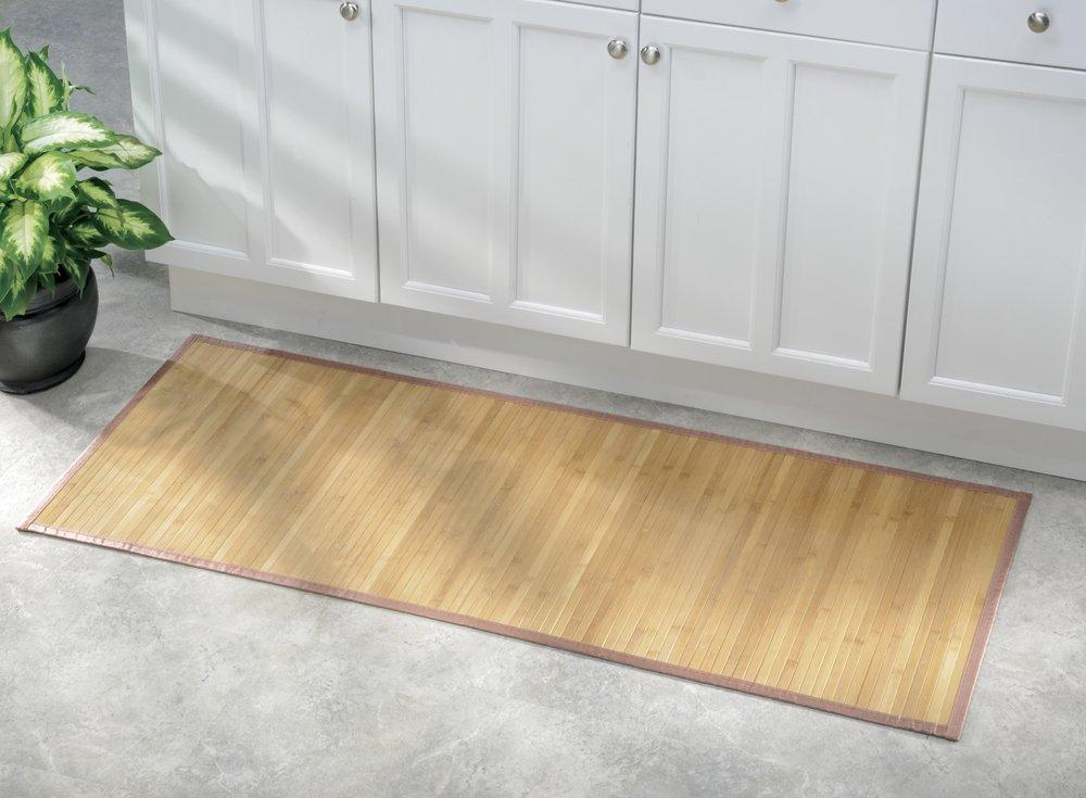 mDesign Water-Resistant Bamboo Floor Mat for Bathroom ...