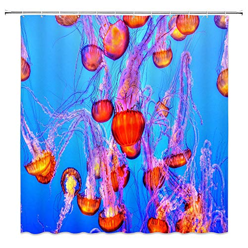 AMHNF Orange Jellyfish Shower Curtain Sea Animals Contemporary Nautical Abstract Artwork Decor, Colorful Jellyfish in The Ocean Seaside Waterdrop Modern Bathroom, 70x70 Inches Long Orange Blue