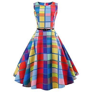 Women Dress Godathe Women Vintage Printing Bodycon Sleeveless Casual Evening Party Prom Swing Dress S-