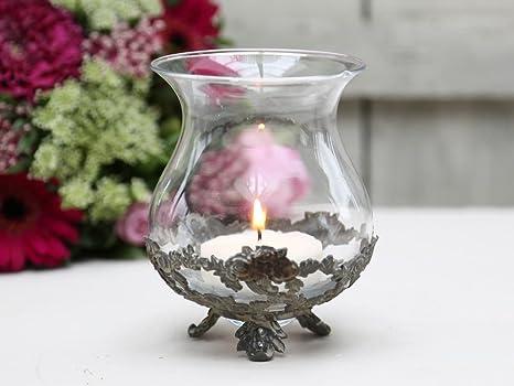 Windlicht Teelichthalter m.Spitzenkante Kerzenständer Glas Chic Antique Shabby