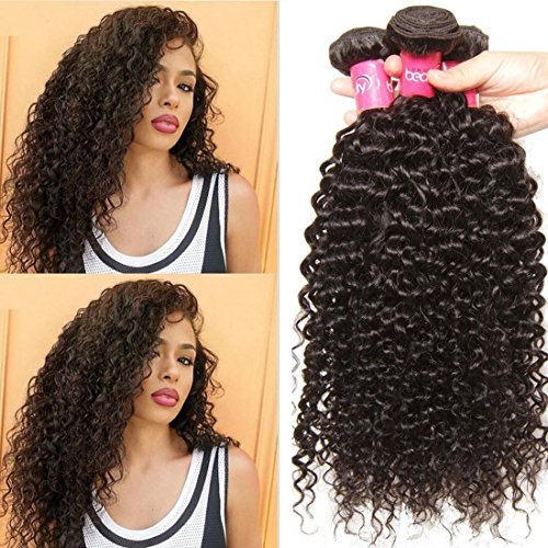 [Malaysian Hair 3 Bundles, Longqi Beauty hair Malaysian Curly Remy Hair 3pcs Set 100%Unprocessed Human Bundles (10 12 14inch, Natural] (Perm Wigs)