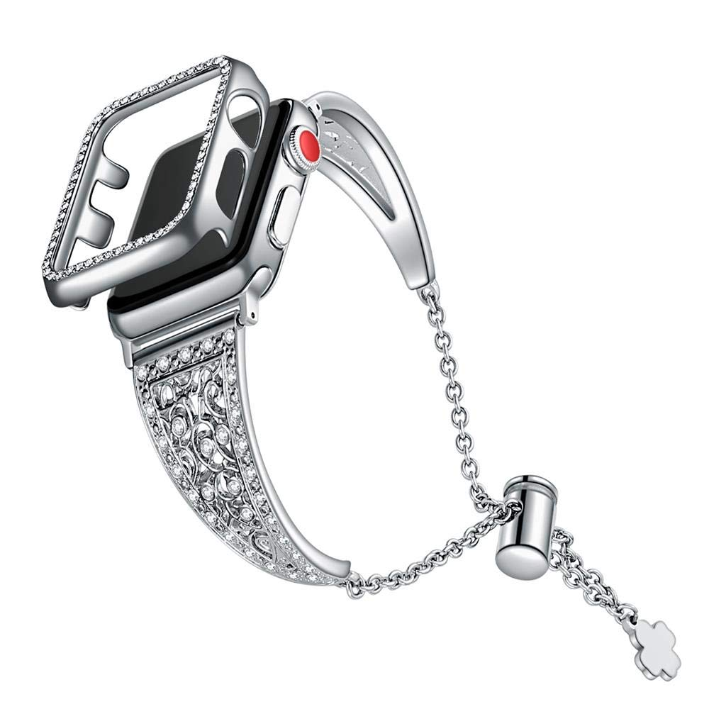 Meyicoo Bling Band Compitable with Apple Watch Band 38mm iWatch Series 3/2,Diamond Jewelry Stainless Metal Rhinestone Bracelet Replacement Wristband with 38mm Watch Case for Woman Man(Silver, 38mm) by Meyicoo