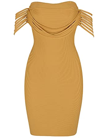 6fcf1e4031ef Maketina Sexy Womens Off Shoulder Bodycon Party Bandage Dress with Strip  Decorated Yellow XS