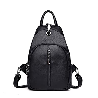 Fanspack Womens PU Leather Backpack Girls Shoulder Bag School Bag Sling  Backpack Purse 97fe8ebb087a7