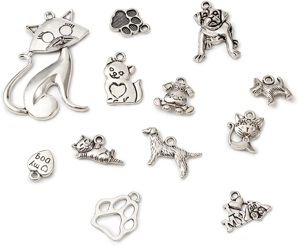 Craftdady 150pcs Love Heart Pendants Antique Silver Mixed Heart-Shaped Charms Collections for DIY Necklace Bracelet Jewelry Making Crafting