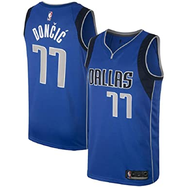 quality design 972ed b0366 Dallas Mavericks #77 Luka Doncic Men's Blue Swingman Jersey