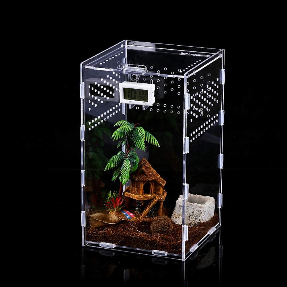 LEEWENYAN Reptile Habitat, Insect Feeding Box for Reptiles and Amphibians, 12x12x20cm Acrylic Reptile Transparent Breeding Case for Spide, Lizard, Scorpion, Centipede, Horned Frog, Beetle