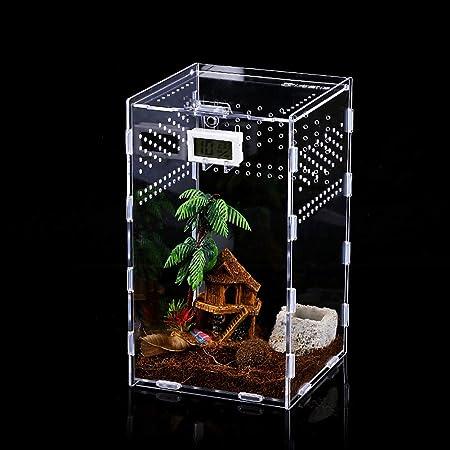 Imagen deCaja de Alimentación de Insectos, 12x12x20cm Acrílico Transparente Estuche de Cría de Reptiles para Spide, Lagartija, Escorpión, Ciempiés, Rana cornuda, Escarabajo