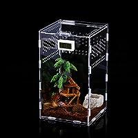 Caja de Alimentación de Insectos, 12x12x20cm Acrílico Transparente Estuche de Cría de Reptiles para Spide, Lagartija…