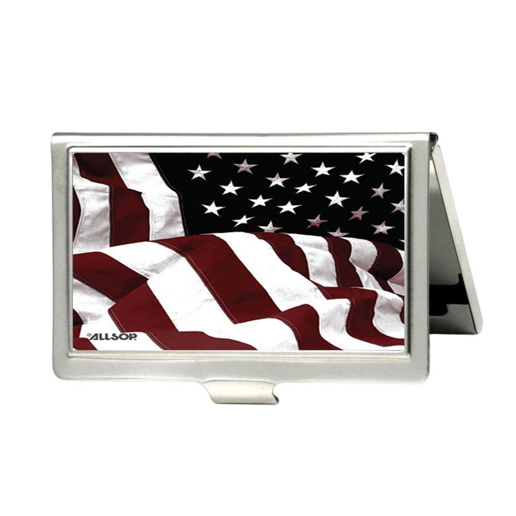American Flag Personalizedカスタムビジネスカードホルダー – メタルステンレススチールポケットIDカードケースボックスホルダー   B01A882B1O