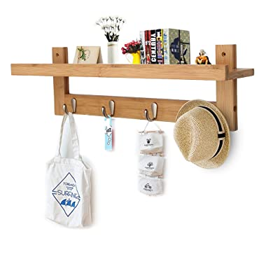 Genenic Bamboo Wall Shelf,Coat Hook Rack Unibody Construction with 4 Alloy Hooks for Bedroom,Kitchen,Bathroom and Home Decoration