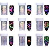 Born Pretty 10Rolls Nail Art Foil Sticker Holographic Laser Gradient Starry Sky Geometry Flower Unicorn Manicure Transfer Decals