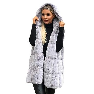 Chaqueta Mujer Felpa Abrigos Sin Manga con Capucha Frio Extremo Nieve Pelo Sintetico Ultra Warm Suéter