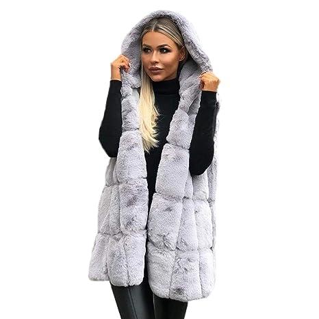 Chaqueta Mujer Felpa Abrigos Sin Manga con Capucha Frio Extremo Nieve Pelo Sintetico Ultra Warm Suéter Invierno: Amazon.es: Ropa y accesorios