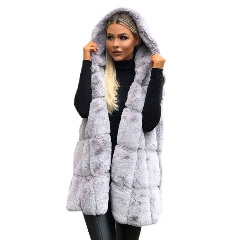 AKIMPE Women Sleeveless Hooded Coat Solid Color Plus Size Warm Long Wool Coat Gray XL