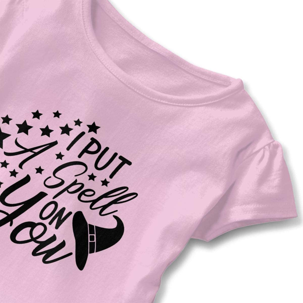 I Put A Spell On You Shirt Baby Girls Flounced Cotton Basic Shirt for 2-6 Years Old Baby