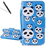 Flip Case for Huawei Honor 9 Lite,Wallet Cover for Huawei Honor 9 Lite,Leecase Cartoon Cute Creative Strap Blue Panda Design Bookstyle Wrist Strap Magnetic Card Slots Pu Leather Soft Inner Stand Function Protective Folding Wallet Case Cover for Huawei Honor 9 Lite + 1 x Free Black Stylus-Blue Panda