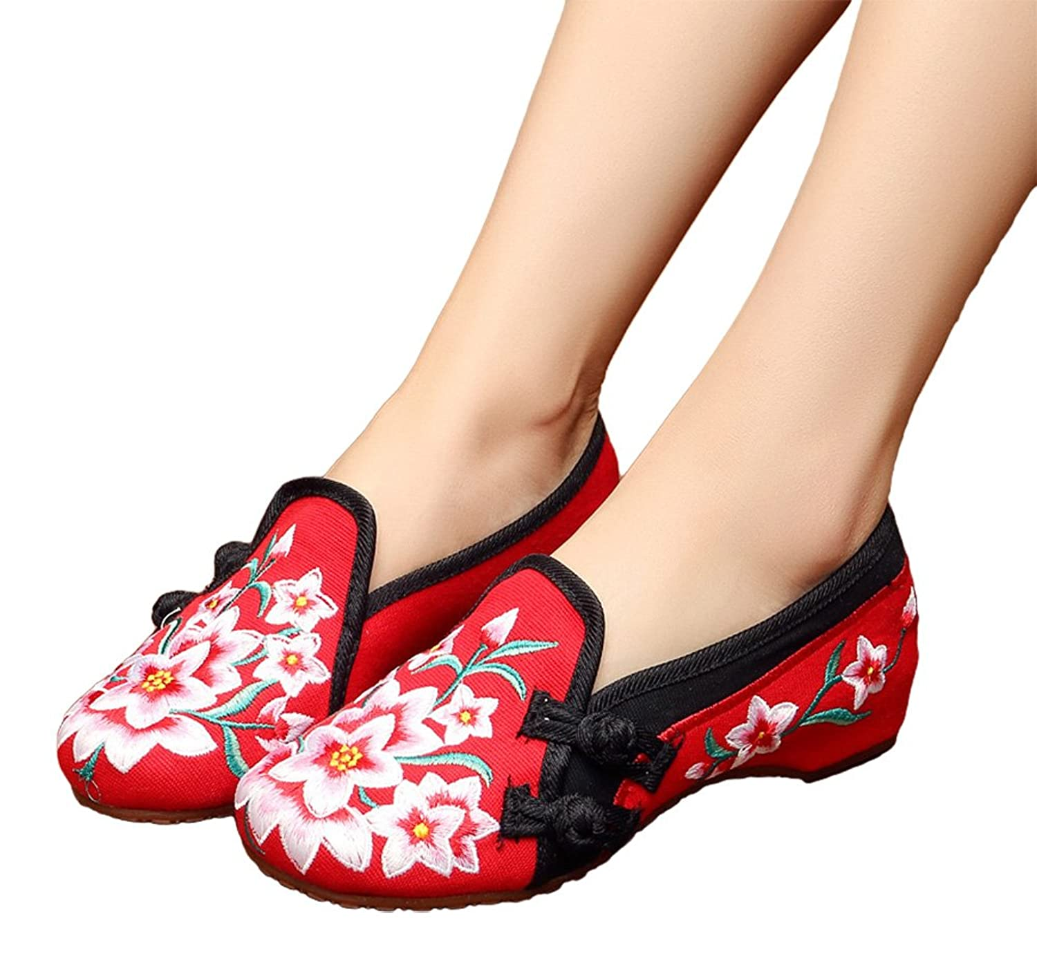 AvaCostume Womens Lily Embroidery Old Beijing Oxford Flats Casual Shoes