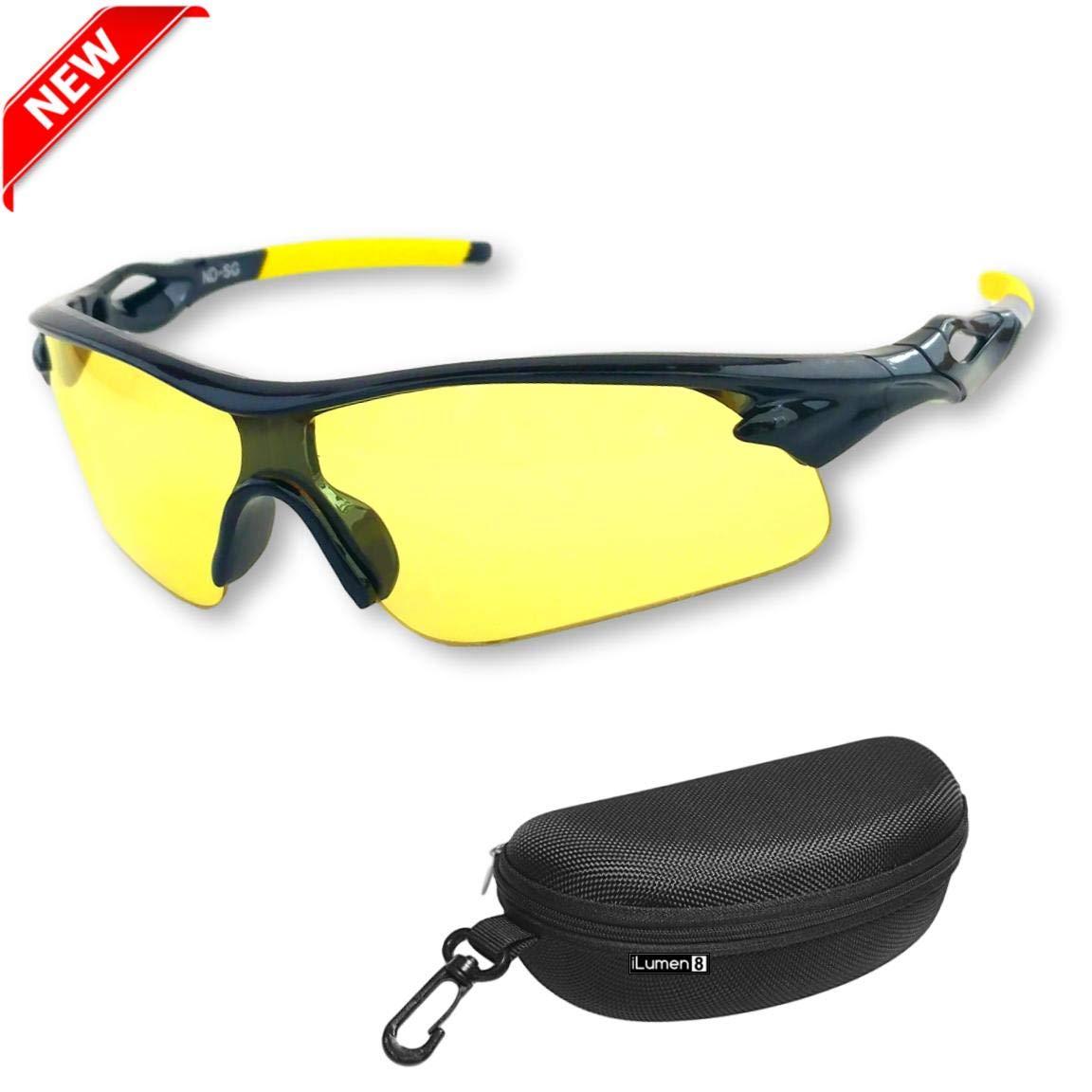 BEST Night Driving Glasses- Anti Glare Night Vision Reduce Eye Strain Golf Biking Riding Motorcycle