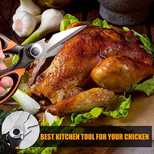 Forbici cucina Robusto, Forbici da cucina affilate in acciaio inox aggiornate forbice cucina trinciapollo multiuso con coprilama per pollo, pesce, carne, pollame, verdure, erbe aromatiche, ossa, noci
