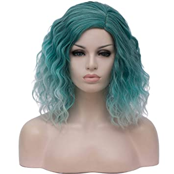 """Beauwig 14"""" Short Bob Wavy Curly Ombre Light Green Wig For Women Cosplay Halloween Come With Wig Cap (Ombre Light Green) by Beauwig"""
