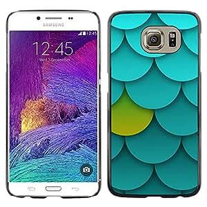 FECELL CITY // Duro Aluminio Pegatina PC Caso decorativo Funda Carcasa de Protección para Samsung Galaxy S6 SM-G920 // Palmette Pattern Green Blue Unique