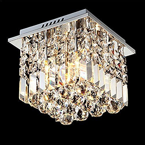 7PM Square Rain Drop Clear K9 Crystal Ceiling Light Lamp Modern contemporary Chandelier Lighting Fixture for Bathroom Foyer Entry