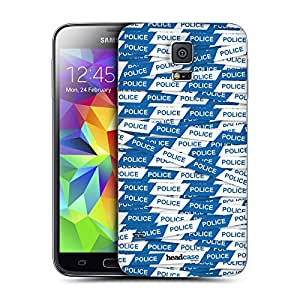 Head Case Designs Blue Police Line Warning Tape Replacement Battery Back Cover for Samsung Galaxy Note 4