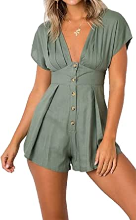 TAOHONG Womens Jumpsuits Casual Buttons Deep V Neck High Waist Short Sleeve Playsuit Rompers Overalls