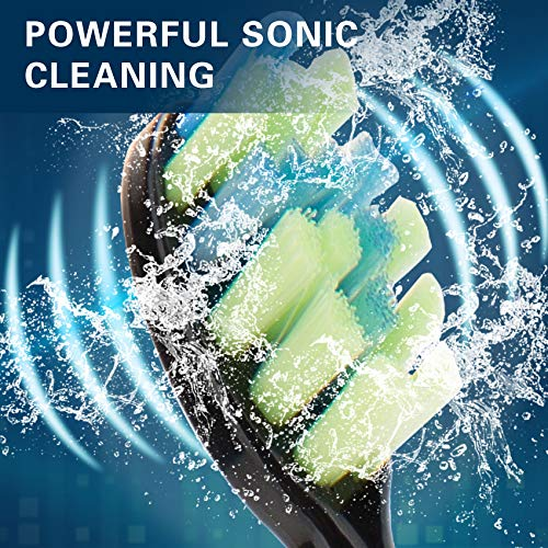 7AM2M Sonic Electric Toothbrush with 6 Brush Heads for Adults and Kids, Wireless Fast Charge, One for 60 Days,5 Modes with 2 Minutes Build in Smart Timer, Waterproof Powerful Electric Toothbrushes